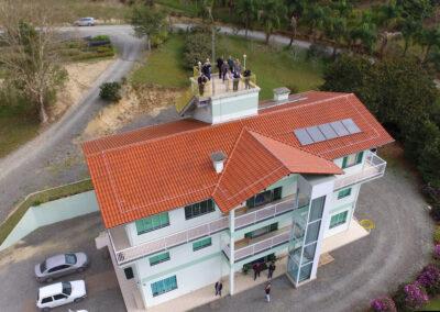 Foto aérea da visita da Diocese de Rio do Sul à Apremavi. Foto: Edinho P. Schaffer.